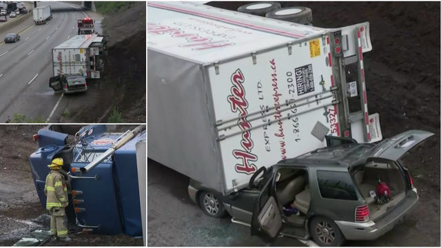 Driver rescued after semi truck rolls on top of SUV on I-75 in Detroit