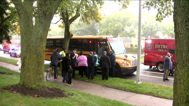 8 children, teen, adult taken to hospital after van crashes into school…