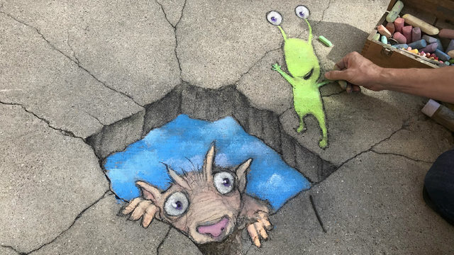 See world-famous chalk artist David Zinn in action in Ann Arbor on June 23