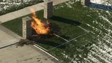 Fire burns in front of Troy home due to gas line break