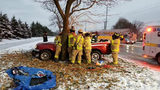 Troy firefighters rescue person trapped in vehicle after hitting tree