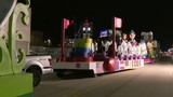 Families check out floats night before America's Thanksgiving Parade