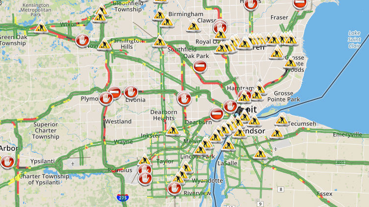 Show Me Traffic Map.Live Metro Detroit Traffic Conditions Alerts Updates
