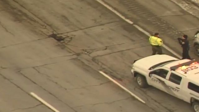 I-75 pothole flattens tires near 14 Mile Road in Oakland County
