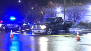 Pickup truck riddled with bullets along I-75 Service Drive in Detroit