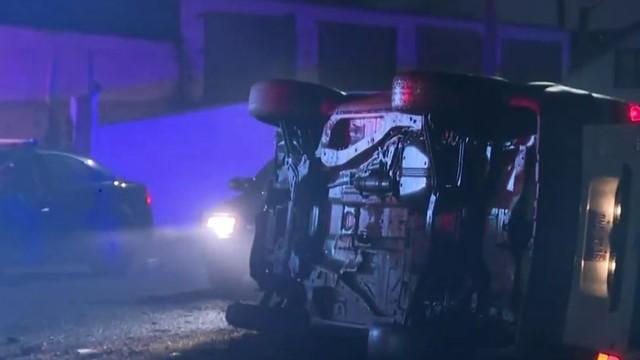 Car strikes pole on Mound Road near Mt. Elliott in Detroit
