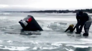 VIDEO: Man saved trying to retrieve items from sinking truck on frozen&hellip&#x3b;