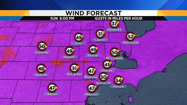 Ann Arbor under high wind warning Sunday; gusts of 50-60 mph likely