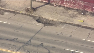 Large pothole spotted on Davison Street just west of Mound Road in Detroit