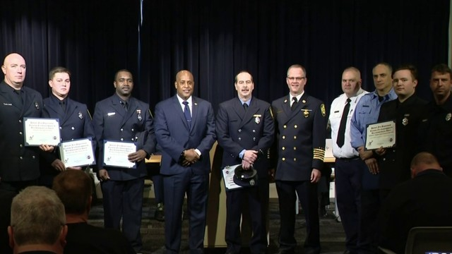 Detroit firefighters honored for rescuing father, young son from burning house