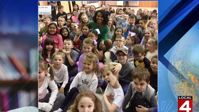 Rhonda Walker visits Francis Higgins Elementary