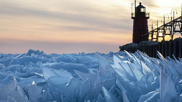Beautiful ice sheets form on Lake Michigan shore