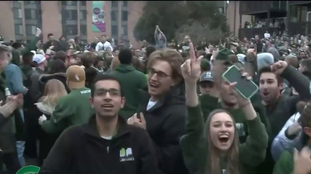 MSU fans celebrate win