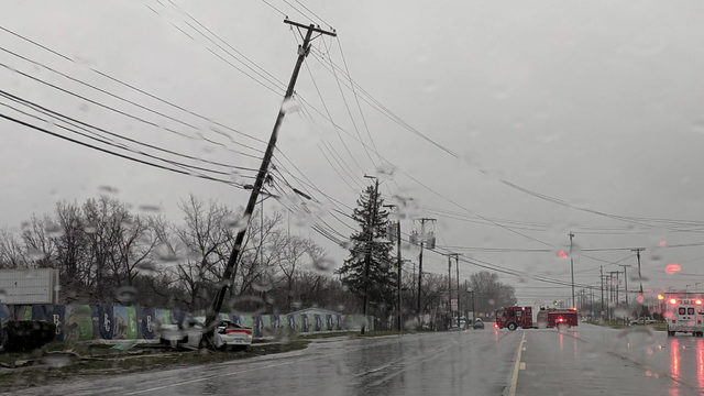 Crash causing pole to lean over roadway leaves Gratiot south of Hall&hellip&#x3b;