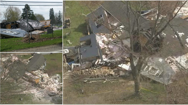 LIVE AERIAL VIDEO: Semi truck destroys house on 26 Mile Road in Macomb Township