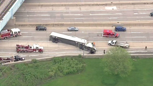 Southfield Freeway reopens at I-94 after rollover semi truck crash