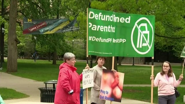 Abortion rights activists, opposition gather at Ann Arbor rally