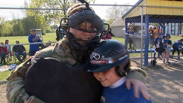 WATCH: Returning Michigan soldier dons umpire gear to surprise son at game