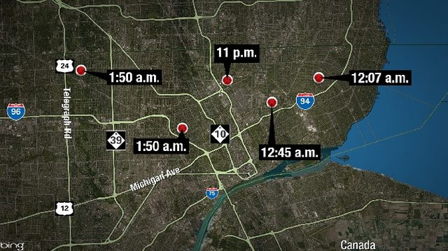 At least 6 people shot at 5 locations overnight in Detroit