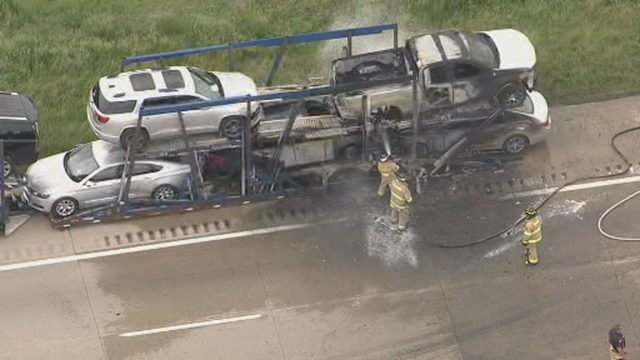 Southbound I-75 reopens at West Road after car hauler fire