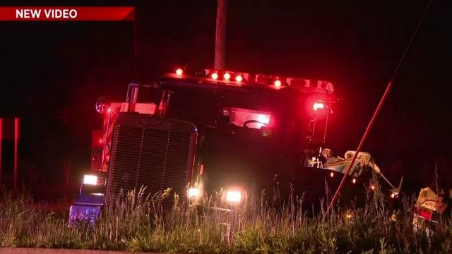 Dump truck goes into ditch near Joy, Beck roads in Plymouth Township