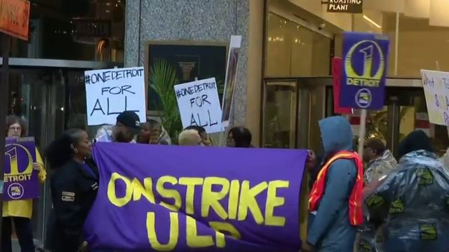 Security guards on strike at Downtown Detroit buildings