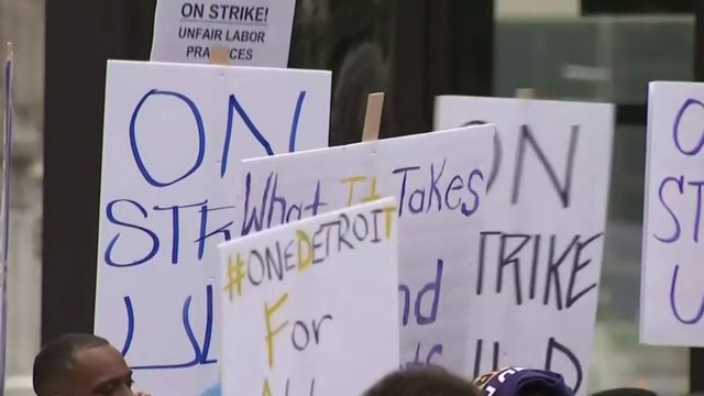 Security workers stage walkout in Downtown Detroit