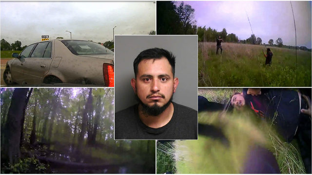 Incredible bodycam video shows police sprinting through woods to arrest…