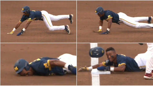 This hilarious Michigan baseball slide absolutely did not go as planned