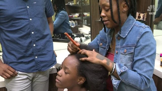 Ohio hairstylist showing parents how to do hair for free