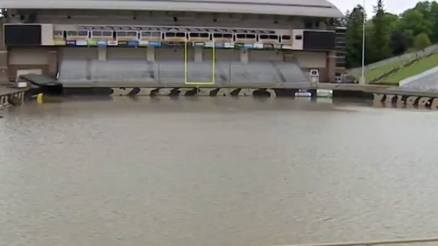 Western Michigan's football field underwater after heavy rain