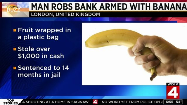 United Kingdom man robs bank armed with banana