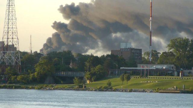 Firefighters battling massive fire in Windsor