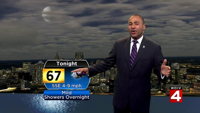 Mild Sunday night, showers and storms Monday