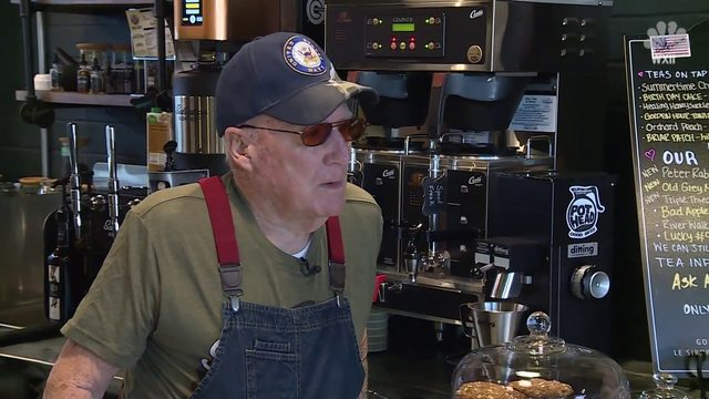 94-year-old veteran takes on new role as barista in North Carolina