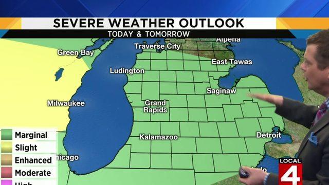 Metro Detroit weather: Rain and thundershowers; severe risk