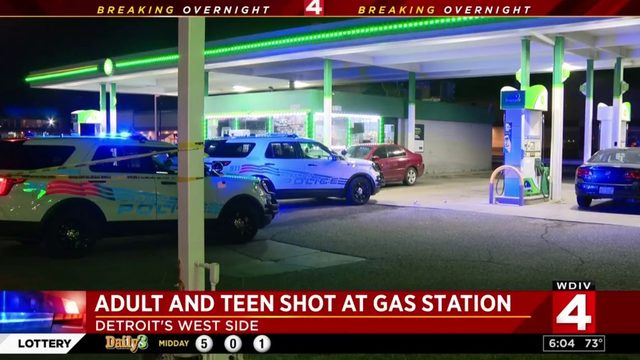 Adult and teen shot at gas station on Detroit's west side
