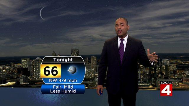 Fair skies Saturday night and less humid