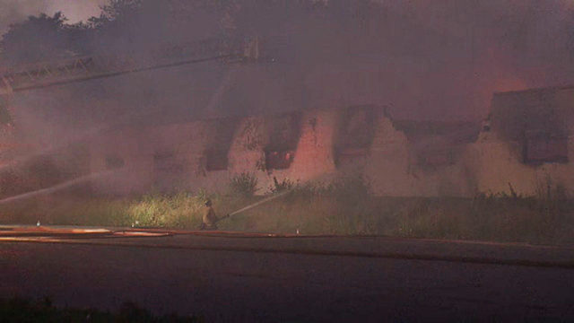 Fire crews battle vacant factory fire in Highland Park