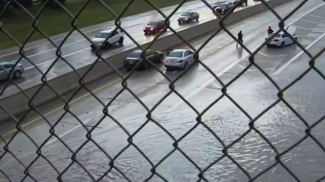 Southfield Freeway floods during heavy rain