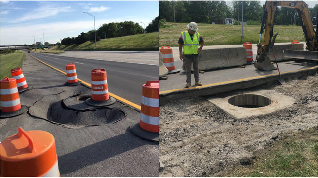 Crews begin emergency repairs to large sinkhole on Mound Road in Warren