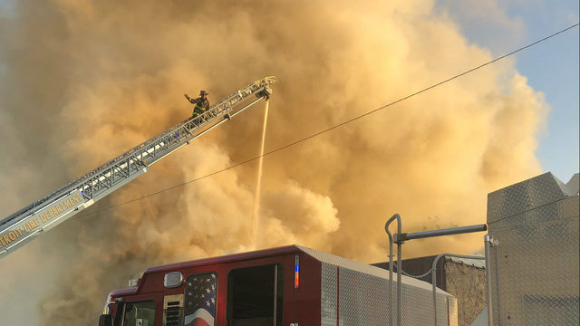 Crews battling fire at 2 commercial buildings in Detroit