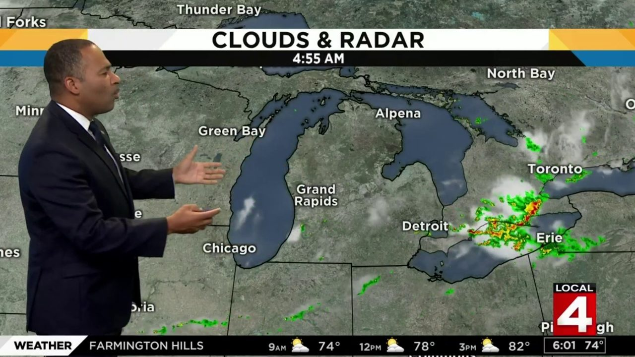Metro Detroit weather forecast: Warm Sunday with showers, storms