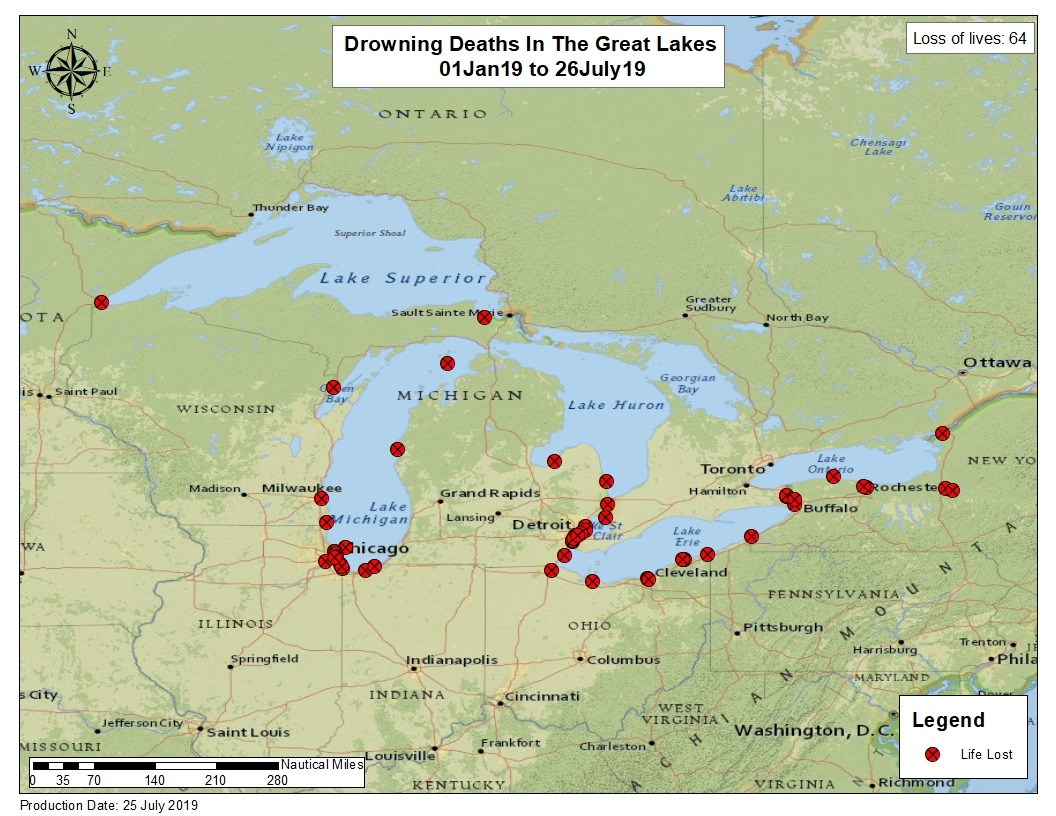 Coast Guard: 64 people have drowned in Great Lakes so far this