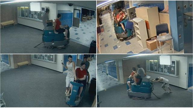 Cameras capture 3 boys riding floor cleaner through hallways after…