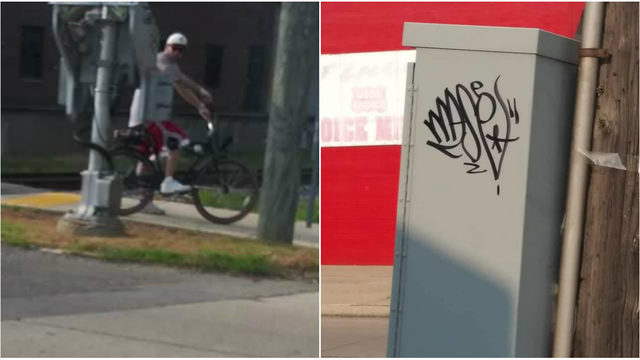 Wyandotte police ask 'grown a-- man' to stop tagging city property