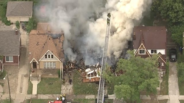 LIVE AERIAL VIDEO: Firefighters on scene of house explosion on Detroit's…