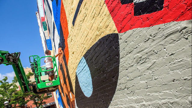 New mural on E. Liberty in downtown Ann Arbor nearly complete
