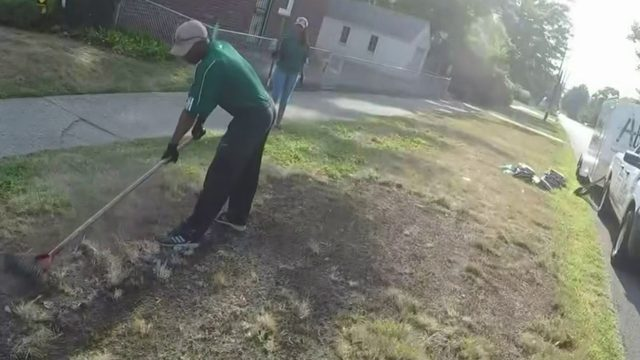 Teens with nonprofit repair Detroit woman's lawn for free after…