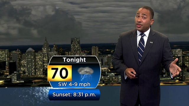 Showers, storms form Saturday night